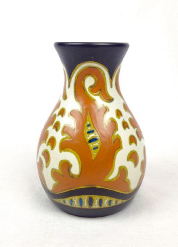 Gouda Pottery Vase Art Deco 1924 Cream / Brown / Blue / Dutch Collectable
